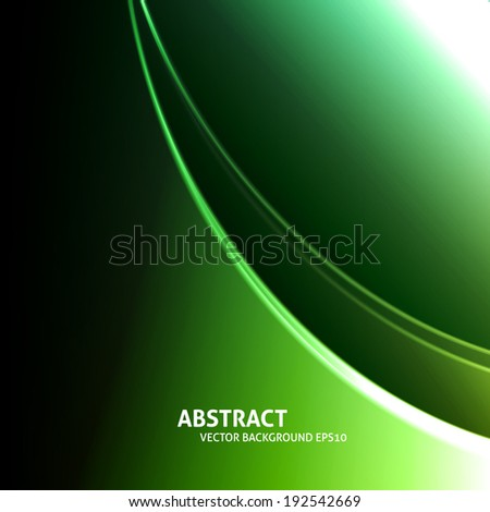 Soft curved light lines vector green background - stock vector