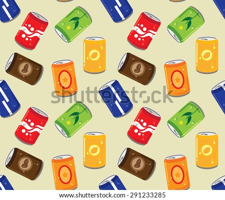 soft drink can seamless pattern - stock vector