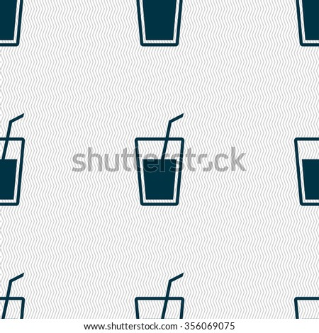 Soft drink  icon sign. Seamless pattern with geometric texture. Vector illustration
