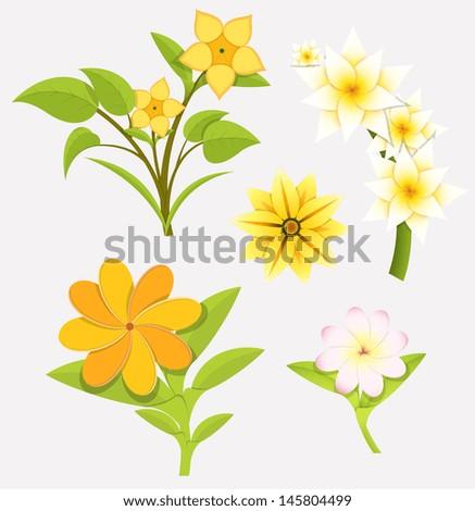 Soft Flowers Vector Set - stock vector