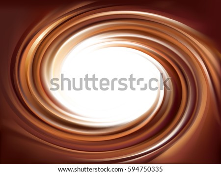 Soft mixed dark mahogany curvy eddy ripple fond. Volute fluid melt sweet choco custard surface with space for text on glowing milky white stripe