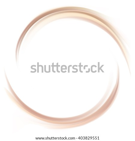 Soft mixed light khaki color curvy eddy ripple fond. Sweet yummy ecru volute fluid smooth choco custard sauce surface with space for text in glowing milky white center - stock vector