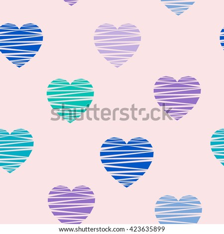 Soft pastel seamless pattern with cute colorful hearts on peachy background. Baby pink nursery vector illustration. Soft pastel seamless pattern with cute colorful hearts. - stock vector