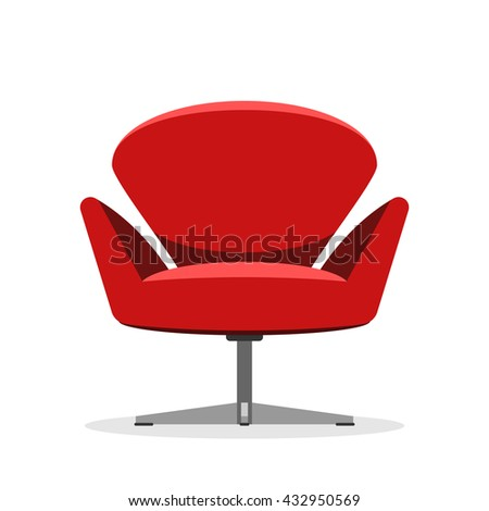 Soft Red modern chair, isolated on white background. Designer interior furniture. Vector illustration flat style sign relax concept - stock vector