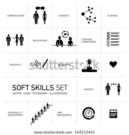 Soft skills vector icons and pictograms set black on white background - stock vector
