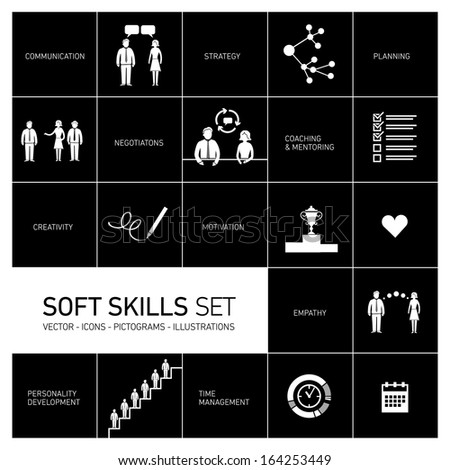 Soft skills vector icons and pictograms set white on black background - stock vector
