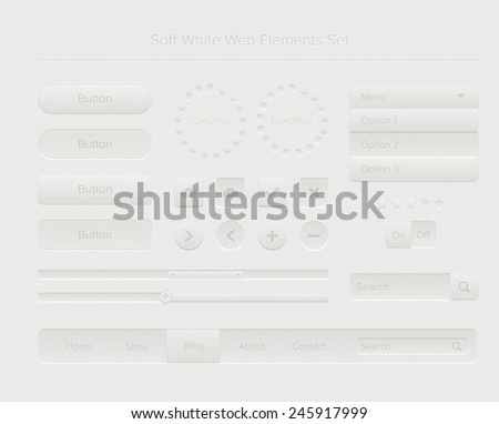 Soft white web elements set - stock vector