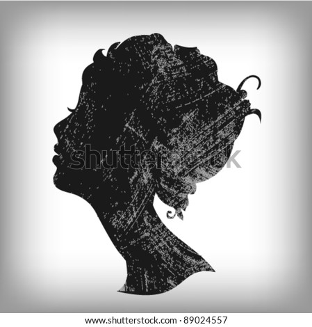 Soft woman silhouette in grunge style - stock vector