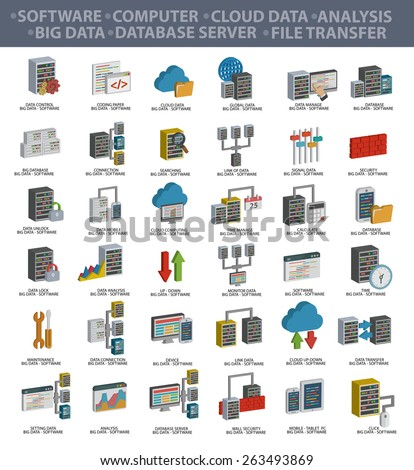 Software,Big data,Computer,Cloud computing,Analysis,Database server,File transfer,Data security and Technology icons,three dimension design,clean vector - stock vector