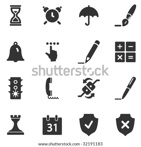 Software black web icons - stock vector