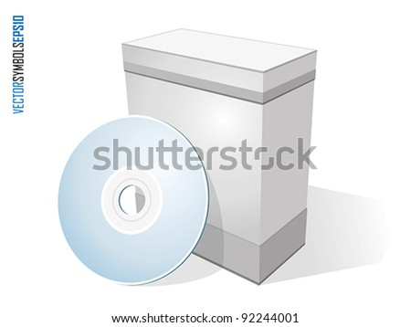 Software box with disc isolated on white - stock vector