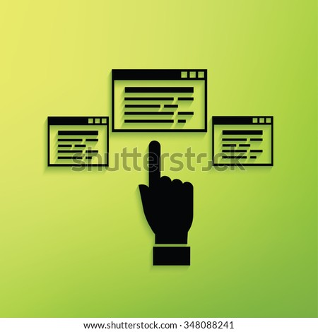 Software,click on green background,clean vector - stock vector