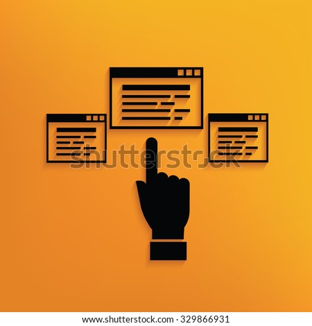 Software click on yellow background,clean vector - stock vector