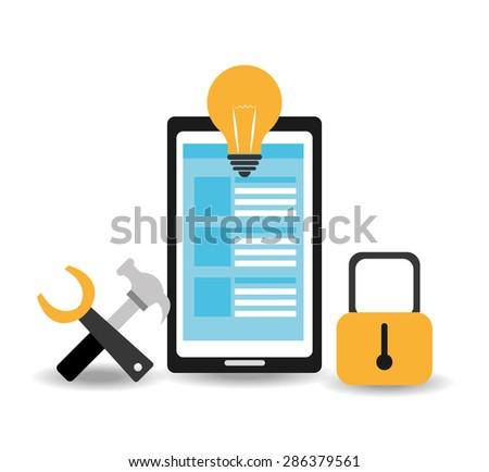 Software design over white background, vector illustration. - stock vector