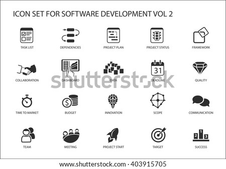 Software development icon set. Vector symbols to be used for Software development and information technology - stock vector