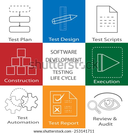 Software development life cycle and Test phase icon collection - stock vector