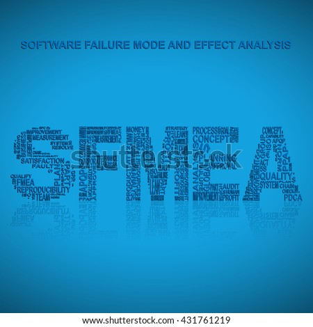 Software failure mode and effect analysis  typography background. Blue background with main title SFMEA filled by other words related with software failure mode and effect analysis  method