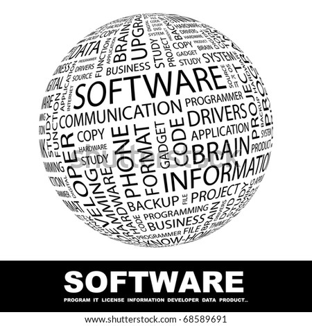 SOFTWARE. Globe with different association terms. - stock vector