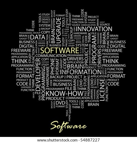 SOFTWARE. Illustration with different association terms in black background. - stock vector