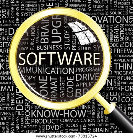 SOFTWARE. Magnifying glass over background with different association terms. Vector illustration.