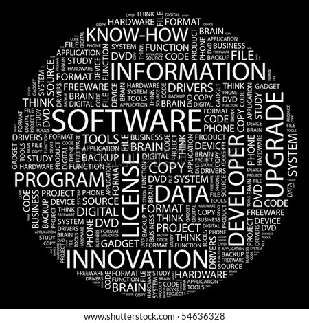SOFTWARE. Word collage on black background. Vector illustration.