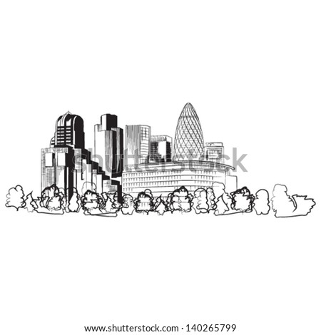Soho business district of London - vector lineart illustration - stock vector