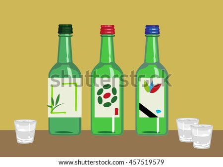 Soju is a popular distilled beverage from Korea containing ethanol and water from various plant and vegetable sources. Editable Clip Art.