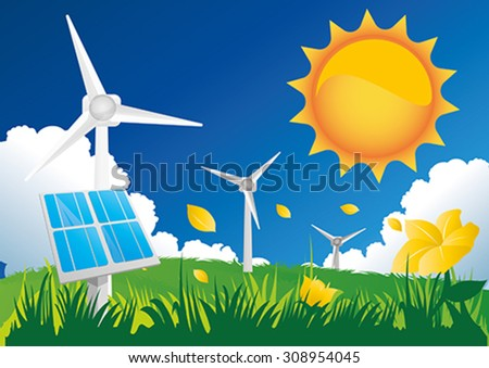 Solar and wind energy. - stock vector
