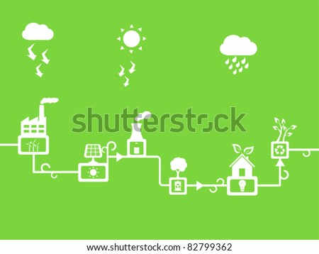 Solar and wind energy powered town - stock vector