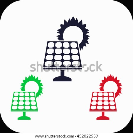 Solar collector Illustration set. Blue, green, red icon. - stock vector