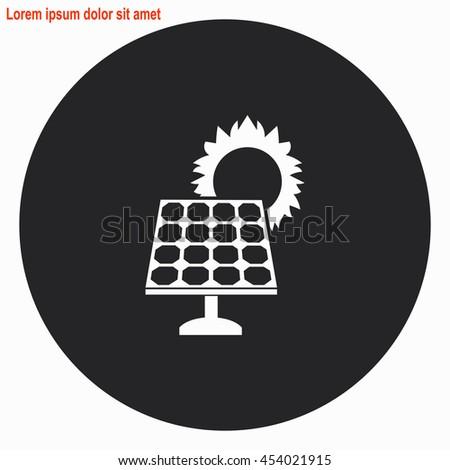 Solar collector web icon. Gray circle button with white illustration. - stock vector