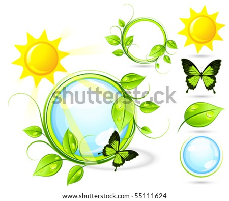 Solar composition with elements - stock vector