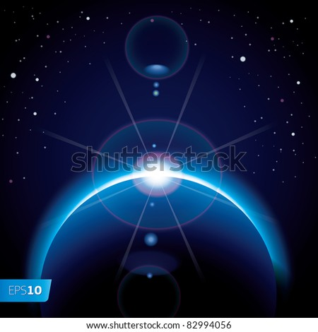 Solar eclipse background with stars and lens flare, vector Eps10 image.  - stock vector