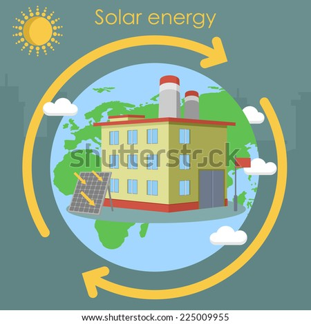 solar energy factory planet - stock vector