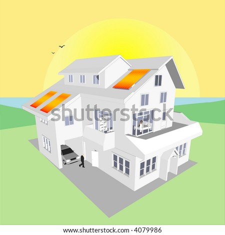 Solar Energy Home (Vector image fully resizable and editable) - stock vector