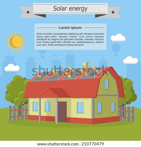 solar energy house home villa panel isometric energetics ecology - stock vector