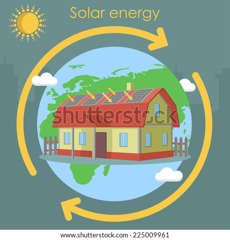 solar energy house planet panel - stock vector