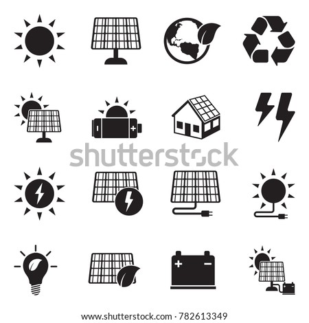 Solar Energy Icons. Black Flat Design. Vector Illustration.