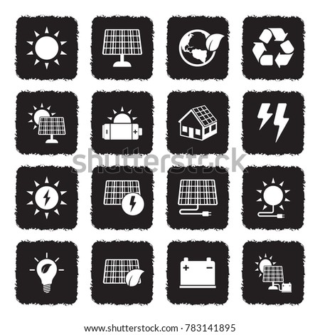 Solar Energy Icons. Grunge Black Flat Design. Vector Illustration.