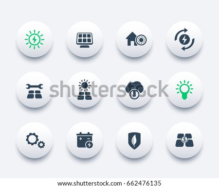 Solar energy icons set, alternative energetics, sun powered house
