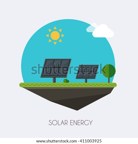 Solar energy. Landscape and industrial factory buildings concept. Vector flat infographic. - stock vector