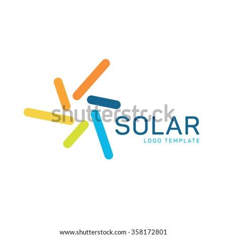 Solar energy logo. Sun energy logo. Solar power logo. Sun power logo. Solar panels logo - stock vector