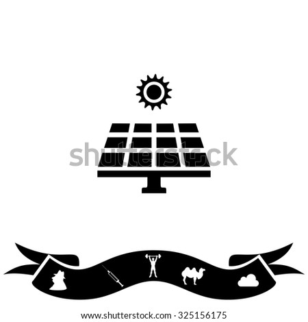 Solar energy panel. Black flat icon and bonus pictogram with ribbon. Vector illustration symbol - stock vector