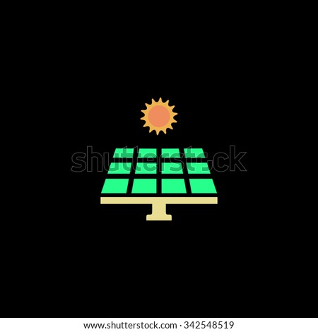 Solar energy panel. Color vector icon on black background - stock vector