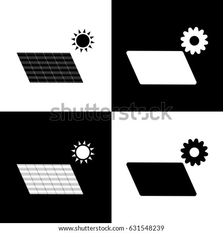 Solar energy panel. Eco trend concept sign. Vector. Black and white icons and line icon on chess board.