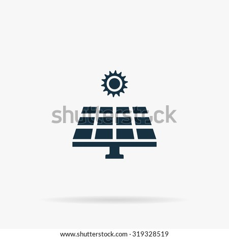 Solar energy panel. Flat vector web icon or sign on grey background with shadow. Collection modern trend concept design style illustration symbol - stock vector