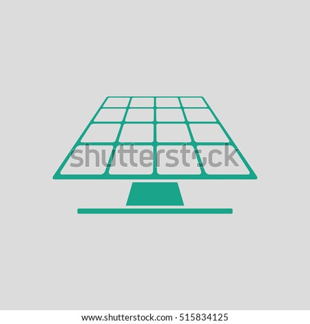 Solar energy panel icon. Gray background with green. Vector illustration.