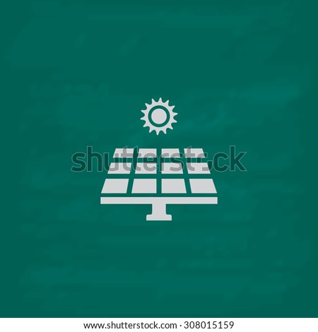 Solar energy panel. Icon. Imitation draw with white chalk on green chalkboard. Flat Pictogram and School board background. Vector illustration symbol - stock vector
