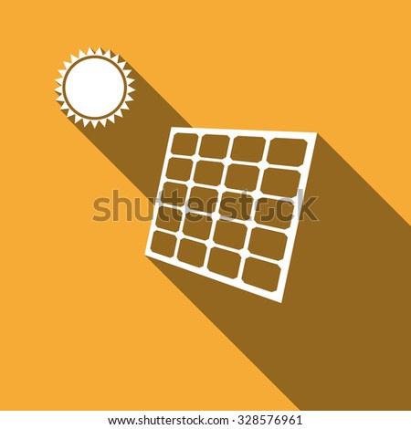 Solar energy panel icon with long shadow. Vector illustration - stock vector