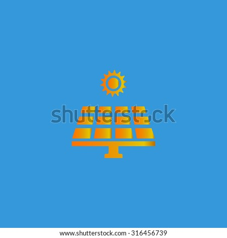 Solar energy panel. Orange vector icon isolated on blue background. Illustration trend symbol - stock vector